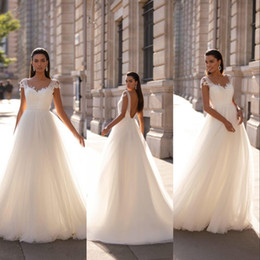 Wholesale belted wedding dresses for sale - Group buy Milla Nova New Sexy Summer Beach Boho A Line Wedding Dresses Illusion Cap Sleeves Sweetheart Lace Appliques Tulle Belt Backless Bridal Gowns