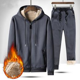 Wholesale nice tracksuits for sale – designer Nice Winter Warm Tracksuit Set Fleece Hooded Sweatshirt And Sweatpants Sets Men VogueThicken Hoodies Jacket Pant Set
