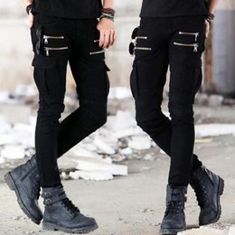 black cargo jeans for men NZ - Biker Pants Mens Tide Elastic Feet Black Jeans For Men 2020 New Fashion Man Denim Trousers Tactical Cargo Pants Pantaloni Uomo