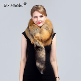 Discount men real fur scarves MS.MinShu Natural Skin Scarf with tail Whole Skin Fur Scarf for Men and Women Fur Stole Real Wrap