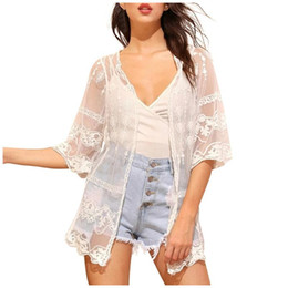 Wholesale kimono cardigans resale online - 2020 Casual Loose Woman Shirt Fashion Half Sleeve Kimono Cardigan Blouses Hollow Out White Lace Blouse Kimono Summer Women Tops