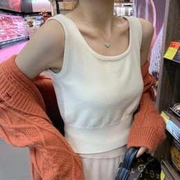 camisole t shirts UK - C7nHQ Xiaoke knitted women's Coat inner vest 2019 new sleeveless style outer wear Korean camisole T-shirt base autumn Vest wear shirt