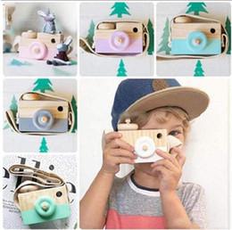 Lindo bebé de madera niños colgando cámara fotografía decoración para niños niños juguete educativo regalos de Navidad cumpleaños en venta