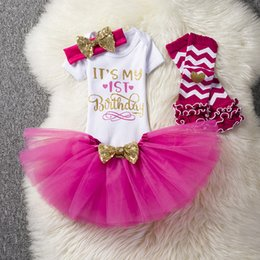 1st birthday clothes girl UK - 1st Birthday Outfits Baby Girl Clothes Fluffy Children Ballet Skirts with Headband Cotton Romper Infant Clothing Suits for Party