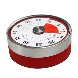 magnetic clocks UK - Mechanical Cooking Alarm Counter Clock Baking Reminder Stainless Steel Manual Countdown Round Shape Magnetic Kitchen Timer