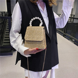 womens handbags and purses ladylike Korean Chain bag fashion Pearl Plant weaving fairy lovely sweet Y124#
