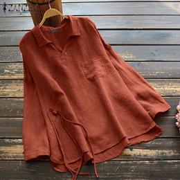 Wholesale yellow tunic shirt for sale - Group buy ZANZEA Plus Size Women Blouse Casual Lapel Neck Long Sleeve Cotton Linen Tops Vintage Shirts Female Solid Loose Blusas Tunic