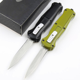 double action knifes UK - Top Quality Medium Size Butterfly 3300 Auto Tactical Knife 440C Double Action Titanium Coated Blade Zn-al Alloy Handle EDC Gear