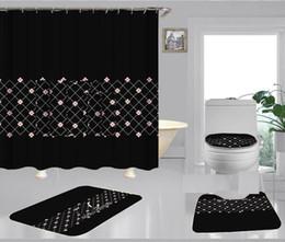 Toptan satış L Harf Şık Duş Ev Dekorasyonu Mat Yumuşak Kaymaz Halı Küçük Çiçek Perde Vintage Izgara Banyo Curtain01 yazdır