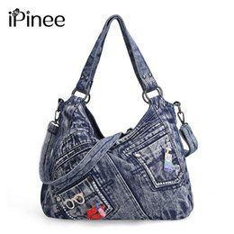 women jeans bags Australia - iPinee Women Handbag Fashion Joker Denim Shoulder Bag Lady Vintage Casual Jeans Tote Leisure Rhinestone Messenger Bags T200915
