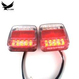 YI-LAN 2pcs 12V24V10-30V Trailer Truck Caravan 20+26LED Tail Light Turn Signal Indicator Brake Stop Lamp Number Plate Light