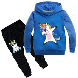 horses children clothing UK - Boys Girls Sport Clothes Set For Baby Girl Boy Unicorn Horse Hoodied T shirt Pants Tracksuit Children Suits Kids Clothing Sets