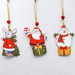 painting nylon plastic UK - Pendants Christmas Tree Creative Painted Series Wooden Sign Ornaments Door and Window Decorations 20uh
