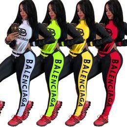 Wholesale plus size jogging sets for sale – designer Designer Women Tracksuit Two Piece Set Outfits Sportswear Long Sleeve Jogging Sports Jacket Leggings Suits Plus Size Women Clothing C612