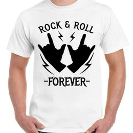 Discount rock roll clothes Rock And Roll Forever - Unisex White T-Shirt - Parody Geek Retro Fun Kitsch Plus Size Clothing Tee Shirt