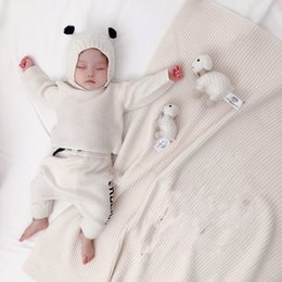 Wholesale knit sets resale online - autumn Knitted Sweater Set for Baby Girls boys Newborn Pullover Pant hat Baby blanket Outfit Kids Clothes Toddler Infant Set