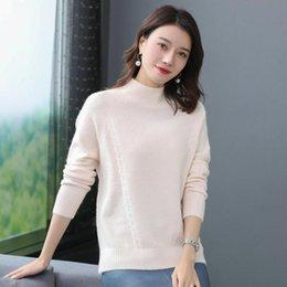 Wholesale woollen sweaters women resale online – Minimalist Style Woman Cashmere Sweater Autumn Winter Soft Warm Woollen Jumper Mujer Pull Crew Neck Knitting Jacquars Sweaters