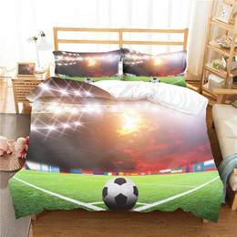 Discount football bedding Custom Bedding Set Football Duvet Cover Boy Children Bed Linen 3D Bed Clothes Game NO Sheets Soccer Single Size Designer 3pc