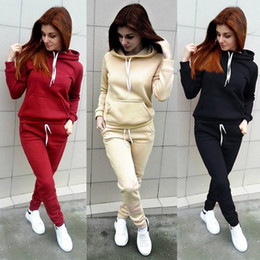 Wholesale womens sweats pants for sale - Group buy 2020 Women Sport Tracksuit Fleece Pullover Hooded Pants two Piece Woman Set Outfit Casual Womens Sweat Suits Sweatsuits Clothes Clothing