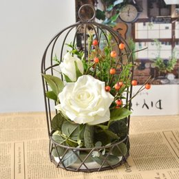 wrought iron home decor UK - Wrought Iron Birdcage Flower Stand Artificial Flower Kit Realistic Decorative Props Living Room Wedding Home Decor