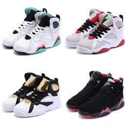 children s shoes NZ - Kids Regression 7 Shoes Children Boys Girls Baby Toddler Regression 7s Basketball Shoes China s Gold Original RETRO Sneakers Size 28-35