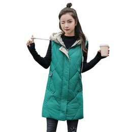 down vest women long NZ - Autumn Winter Cotton Vest Women Chaleco Mujer Hooded Warm Long Vest Padded Jacket Casual Students Sleeveless Waistcoat C6676