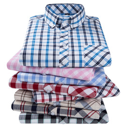 Wholesale short sleeve plaid shirt men resale online - Trends Men s Plaid Shirts Cotton Short Sleeve Casual Button Up Shirt Man Formal Dress Shirt Clothes Streetwear