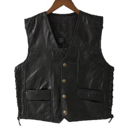 sleeveless motorcycle jacket NZ - New Black Leather Motorcycle Vest For Men Genuine Leather Punk Biker Vest Lace Button Autumn Sleeveless Jacket For Men