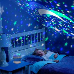 children projection lighting Australia - Colorful Led Star Projection Night Light Moon Lamp Battery USB Kids Gift Children Bedroom Projector Lamp Party Supplies XD22918