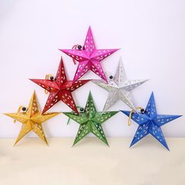 hanging star christmas decoration NZ - Three dimensional laser Christmas hangs Pentagram Moon star hangs christmas decoration Festivel party Hotel Home Decor