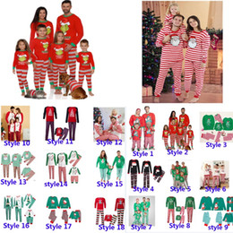 Wholesale Xmas Kids Boy Girls Adult Family Matching Christmas Deer Striped Pajamas Sleepwear Nightwear Pajamas Parent-Child Pyjamas Party HH9-3304