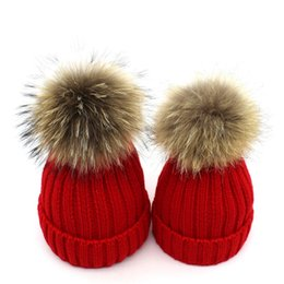 Discount real furs for Bonnet Hat Knitted Beanie with Fleece Real Raccoon Fur Pompom Removable Hat for Female Kids Warm Chunky Thick Stretchy Hat Cny1808