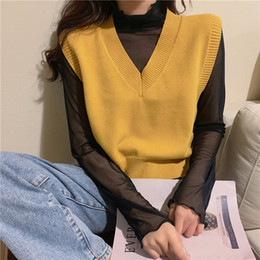 Wholesale yellow vests resale online - V neck Sweater Vest Spring Autumn Sleeveless Knit Pullover Sweater Korean Vintage Black White Beige Yellow Green Pink Vest