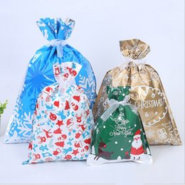 plastic bag drawstring Australia - 1pcs Christmas Decorations For Home Christmas Gift Bags Drawstring Bag Biscuit Candy Bags Party Favors Pouches