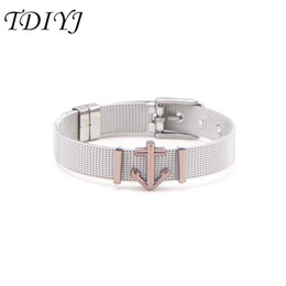 stainless steel slide bracelets NZ - TDIYJ Stylish DIY Coffee Anchor Slide Charms with 10mm Stainless Steel Bracelets as Gift for Summer Holiday