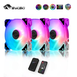fan mod Australia - Bykski RGB Fan 12CM 5V Chassis Quiet Fan Kit Symphony Controller Support AURA Water Cooler Mod 120mm A-RGB PC Cooler CF-APRBW-V3