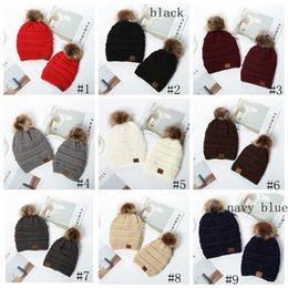 Kids Adults Pom Poms Beanies Knitted Hat Thick Warm Winter Hat Soft Stretch Cable Knit Wool Hats Skullies Beanie Girl Ski Caps GGA3727