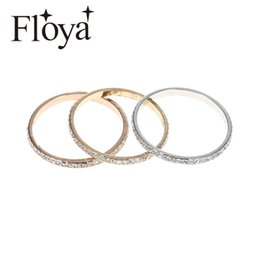 stainless steel ring base 2021 - Floya Full Zircon Inner Filled Rings Copper Women Stainless Steel Base Accessories Combination Interchangeable Ring Bague Acier