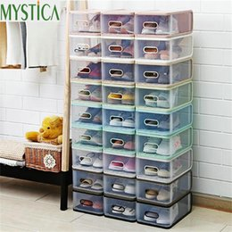 eco friendly shoe storage boxes NZ - 4PCS Eco-Friendly Shoe Storage Box Case Transparent Rectangle Plastic Storage Box Rectangle PP Shoe Organizer Thickened