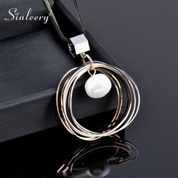 baroque pearl long necklace 2021 - SINLEERY Multilayer Circle Pendant Necklace With Baroque Pearl Dangle Black Long Chain Statement Jewelry For Women My296 SSF