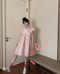 pink bubble dresses UK - Xa6Jb jacquard cross pullover sleeve collar pink high bubble summer new Korean style quality square waist for Pullover Dress dress women