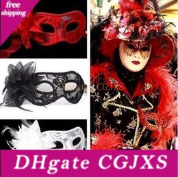 masquerade mask red black UK - Venetian Masquerade Girl Lace Women Flower Masks Christamas Party Mask Black White Red 3 Colors Sexy Yw237