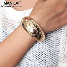 rough surface 2020 - MANILAI Punk Rough Surface Alloy Big Bangles Trend Golden Sillver Color Statement Cuff Bracelets For Women Jewelry Acces