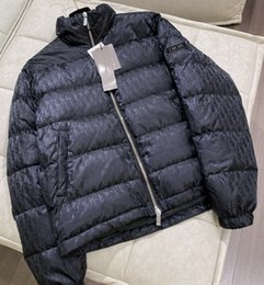 Wholesale stand collar men for sale – winter Branded Men Letter Nylon Down Jacket Designer Male Winter Warm Strip Zipper Hooded Outwear Fashion Gentlemen Stand Collar Coat