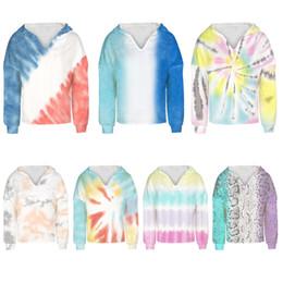 Wholesale streetwear style girl online – design Casual Hoodies For Teens Girl Fashion Tie Dye Print Sweatshirt Long Sleeve Winter Streetwear Kid Clothes Hoodie Clothing M2778