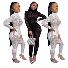 sexy black two piece outfits NZ - Women Sexy Lace Mesh Sheer Two Piece Set Spring Clothes Top Pant Suit Club Party Night Birthday Outfits Matching Sets
