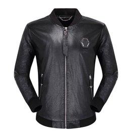Wholesale black faux leather tops for sale - Group buy Black Biker skulls Faux Leather Jackets for Men Coats Zipper Slim Fit Short hip hop Casual Motorcycle Coats Male Tops Fitness clothing M XL