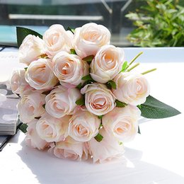 wedding bouquet white roses NZ - 18pcs pink Rose Artificial Flowers Silk Flower for Home Party Fall Decoration Wedding Bouquet Flowers Fall Decor Fake Flowers T200909