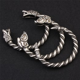 bangle silver dragon Australia - XINYAO 2020 Retro Open Fenrir Dragon Viking Bracelets Bangles For Men Vintga Antique Silver Color Cuff Bangles Pulseras F6526