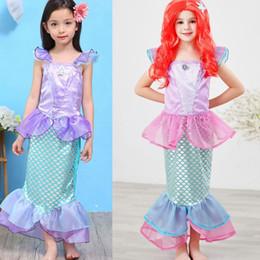 Fille Robe de sirène Little Girls Costume Princesse sirène Costume Fancy Dress up Robe de soirée Halloween KKA8074 en Solde